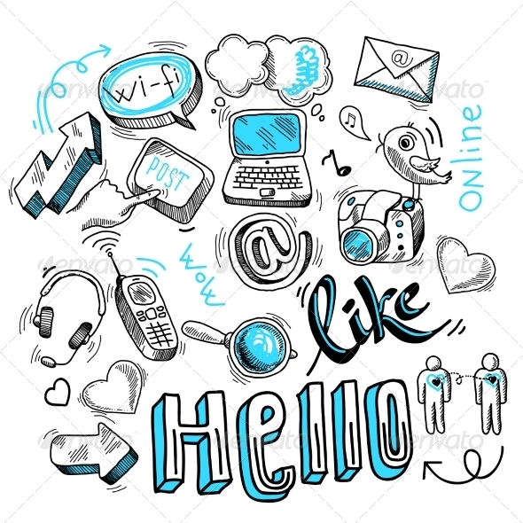 GraphicRiver Social Media Doodles 7117561