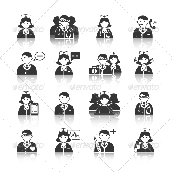 GraphicRiver Medicine Doctors and Nurses Icons Set 7117704