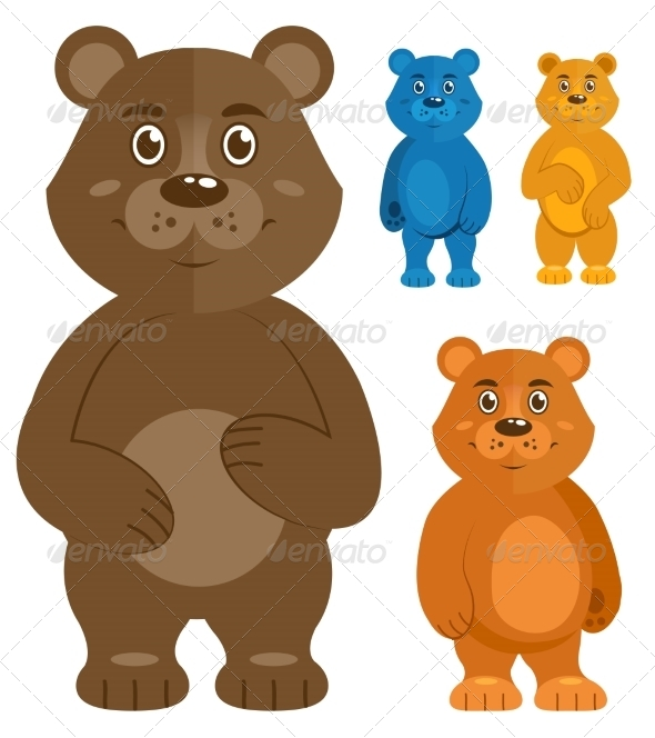 Decorative Teddybears Icons Set