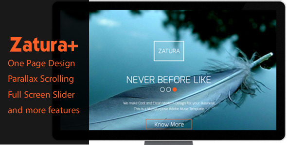 Zatura – One Page Parallax Corporate Muse Theme - Corporate Muse Templates