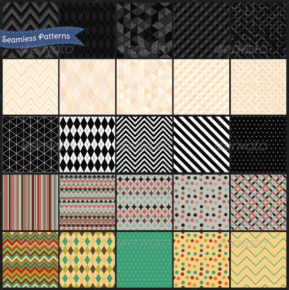 GraphicRiver Set of Retro Geometric Seamless Background Pattern 7117772