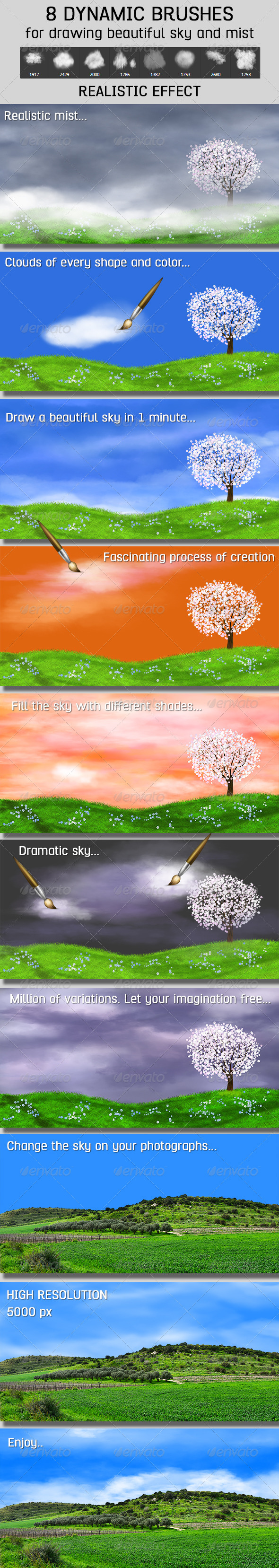 GraphicRiver 8 Dynamic Brushes Clouds and Mist 7082871