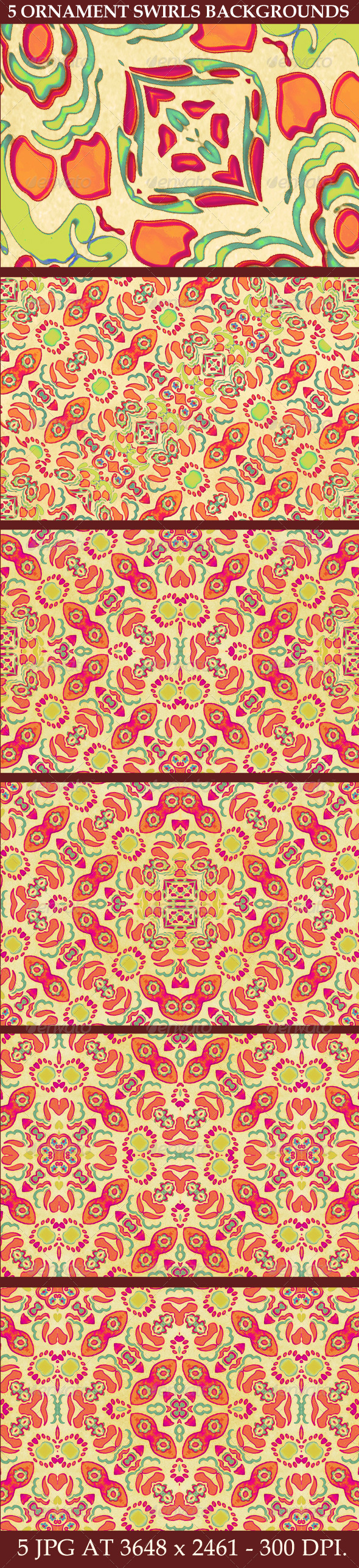 GraphicRiver 5 Multicolored Ornament Swirls Backgrounds 7117995