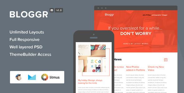 ThemeForest Bloggr Responsive Email & Themebuilder Access 7117996
