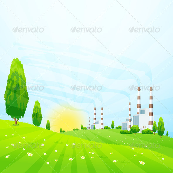GraphicRiver Green Landscape with Power Plant 7118521