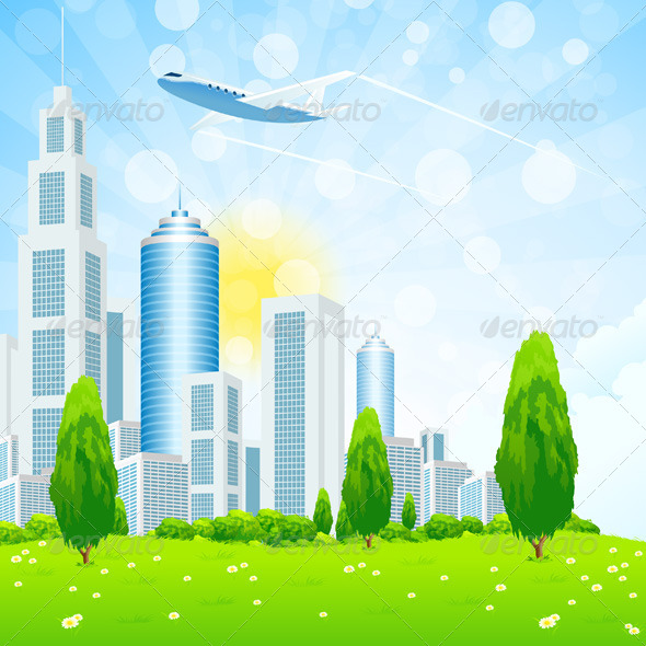 Green Landscape with City - Landscapes Nature