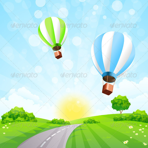 Green Landscape with Balloons