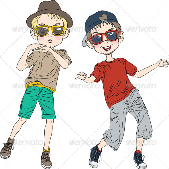 GraphicRiver Hipster Boys Dancing 7118613