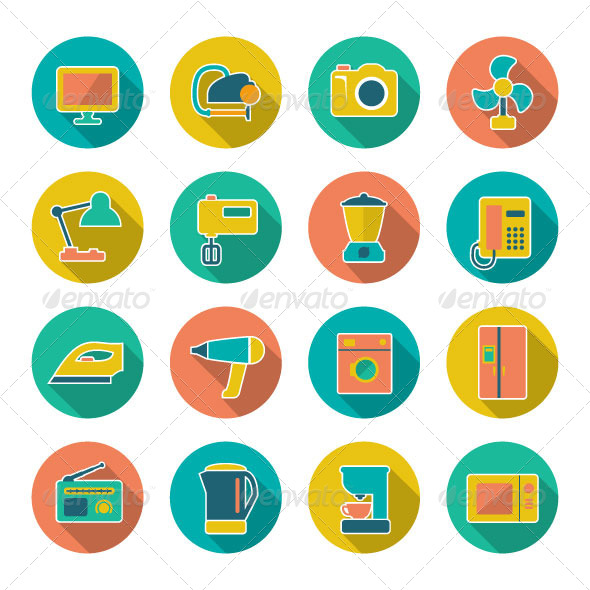 GraphicRiver Set Flat Icons of Home Technics and Appliances 7118622