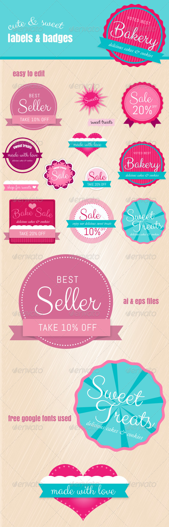 GraphicRiver Fun Web Labels & Badges use for Bakery and More 7058757