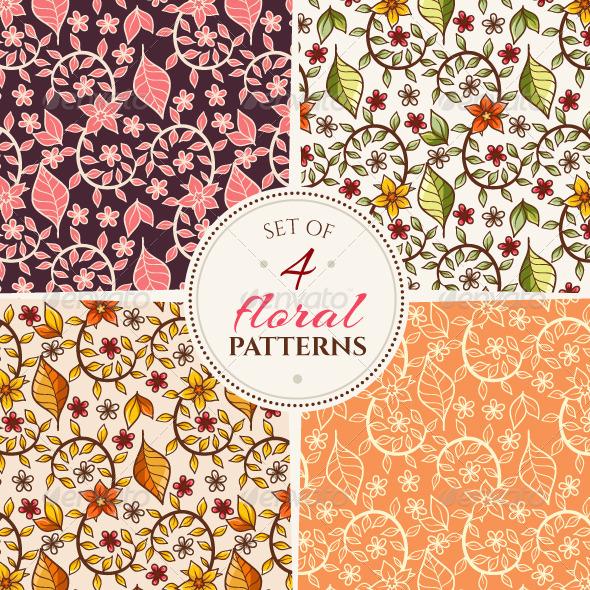GraphicRiver Floral Patterns Set 7118877