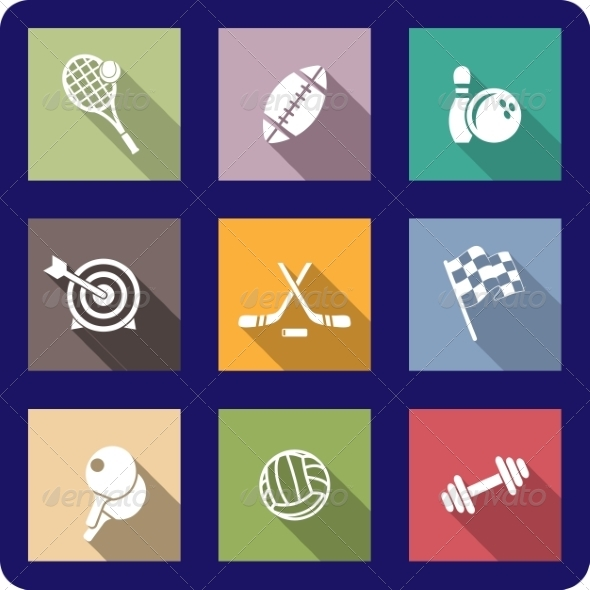 GraphicRiver Colorful Flat Sporting Icons 7119191