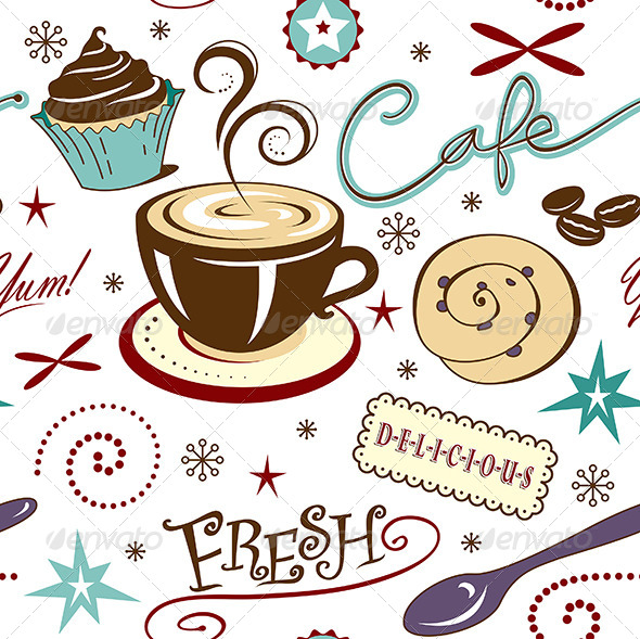 GraphicRiver Repeat Pattern Hot Fresh Coffee Shop and Sweets 7119371