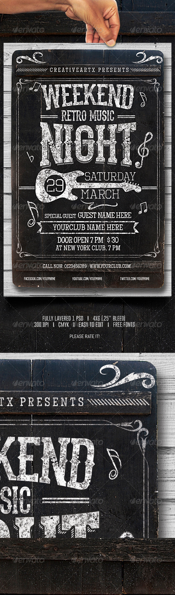GraphicRiver Weekend Retro Music Night 7096085