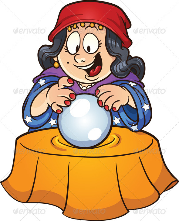 Gypsy woman looking at a crystal ball. Vector clip art illustration ...