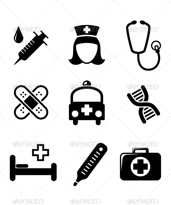 GraphicRiver Set of Black and White Medical Icons 7119902