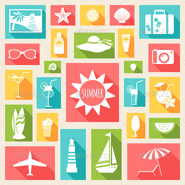 GraphicRiver Postcard with Summer Holiday Flat Elements 7120765