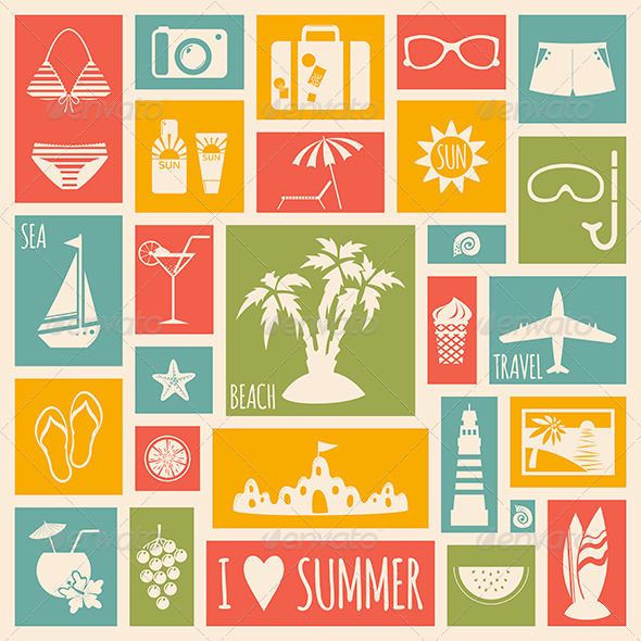 GraphicRiver Summer Holiday Card with Flat Elements 7120819