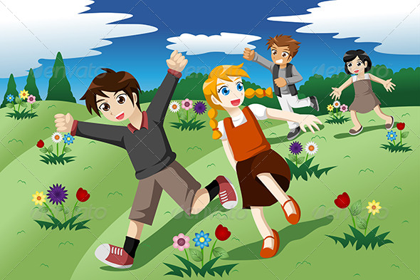GraphicRiver Children Running on the Open Field of Wild Flowers 7121791