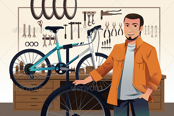 GraphicRiver Bicycle Store Owner in his Bike Repair Shop 7121847