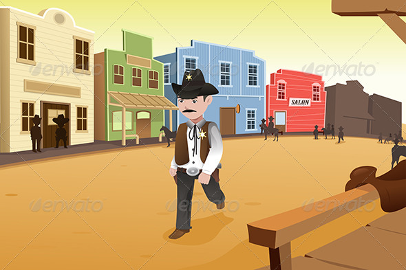 GraphicRiver Sheriff Walking on an Old Western Town 7121935