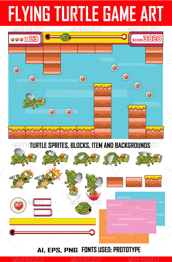 GraphicRiver Flying Turtle Game Art 7080050