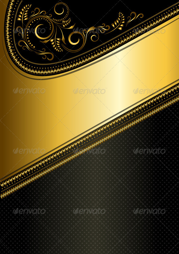 Gold Ornament and Gold Ribbon  - Stock Photo - Images