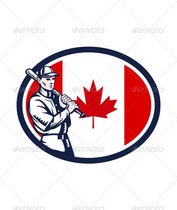 GraphicRiver Canadian Baseball Batter Canada Flag Retro 7122569