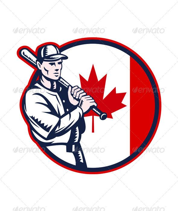 GraphicRiver Canadian Baseball Batter Canada Flag Circle 7122574