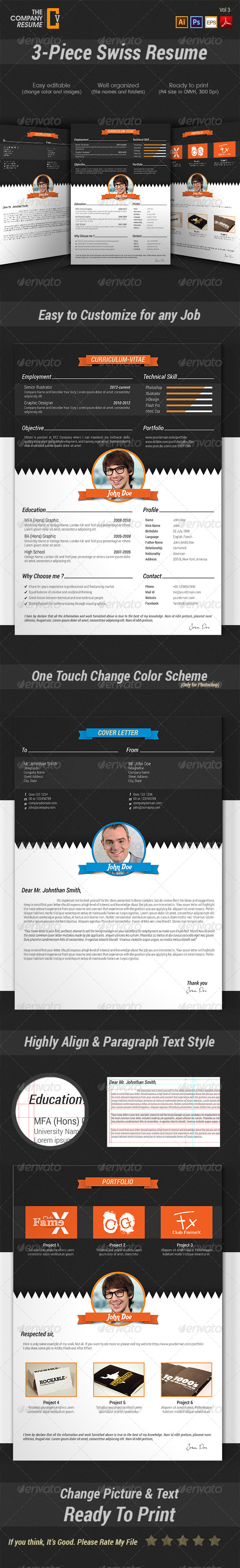 GraphicRiver 3-Piece Swiss Resume 7093046