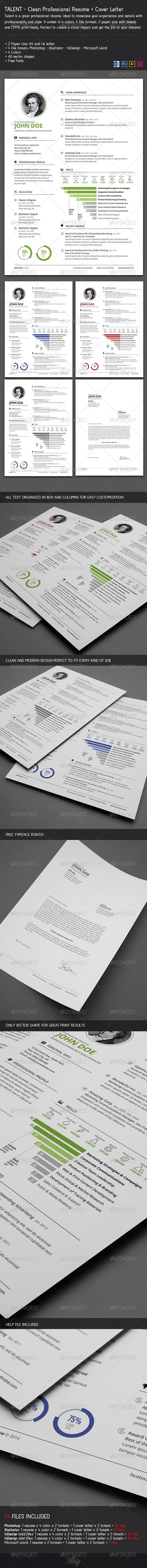 GraphicRiver Clean Resume & Cover Letter 7027613