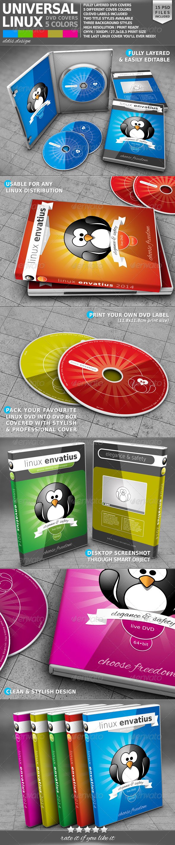 GraphicRiver Universal Linux DVD Cover Pack 7097234