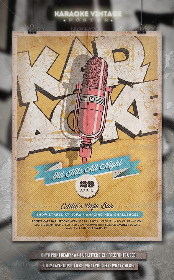 GraphicRiver Karaoke Vintage Poster Flyer 7103731