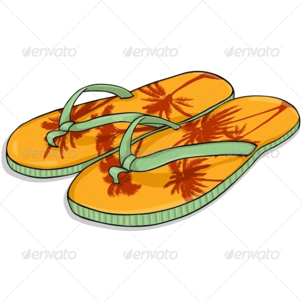 GraphicRiver Vector Cartoon Orange Beach Slippers 7125810