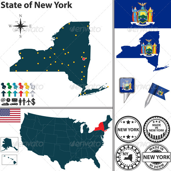 GraphicRiver Map of State New York USA 7126126