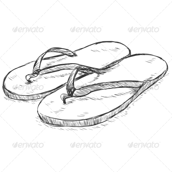 GraphicRiver Vector Sketch Slippers 7126159