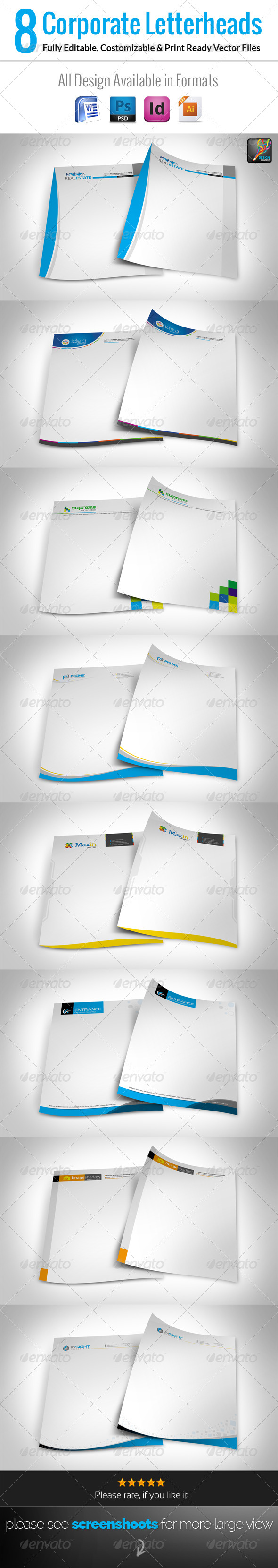 GraphicRiver 8 Corporate Letterhead With MS Word Doc 7126168