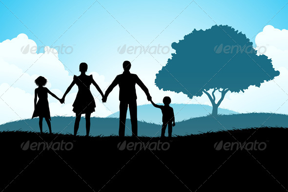 GraphicRiver Nature Background with Family Silhouette 6968622