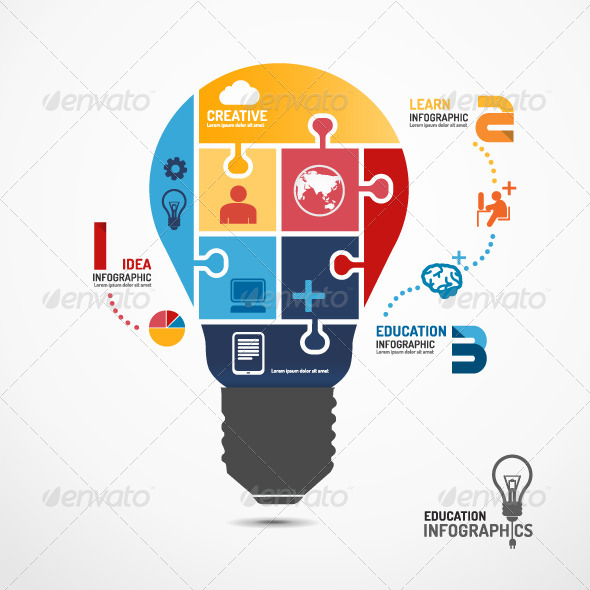 GraphicRiver Infographic Template Light Bulb Jigsaw Banner 7127423