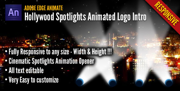 CodeCanyon Hollywood Spotlights Animated Logo Intro 7127529