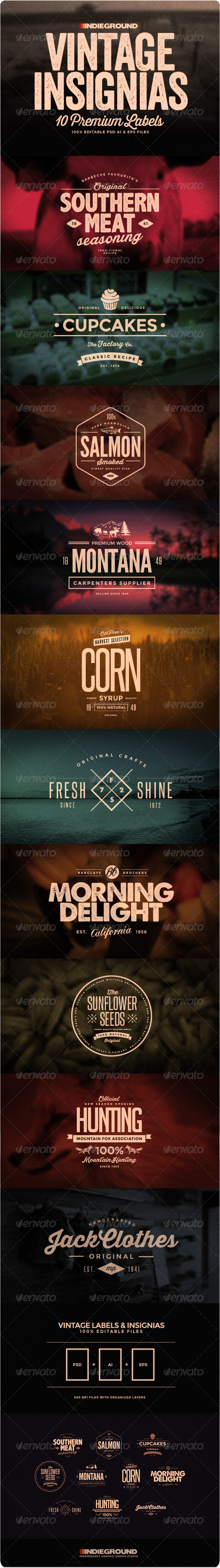 GraphicRiver Vintage Insignias & Labels 7127781