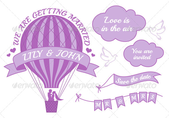 GraphicRiver Hot Air Balloon Wedding Invitation 7113116