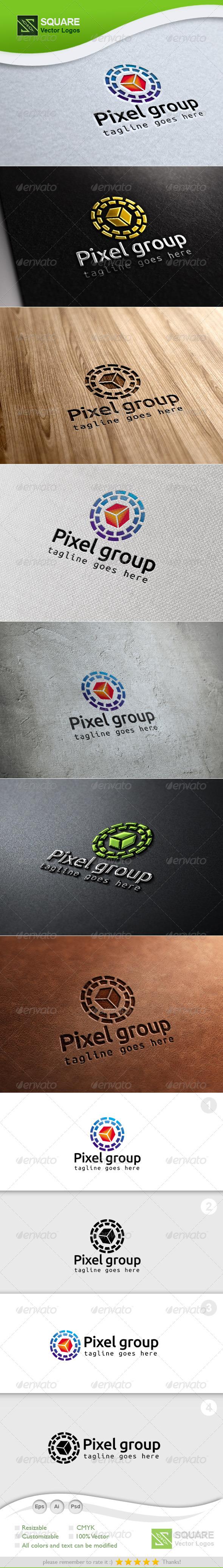 Pixel, Circle Vector Logo Template - Symbols Logo Templates