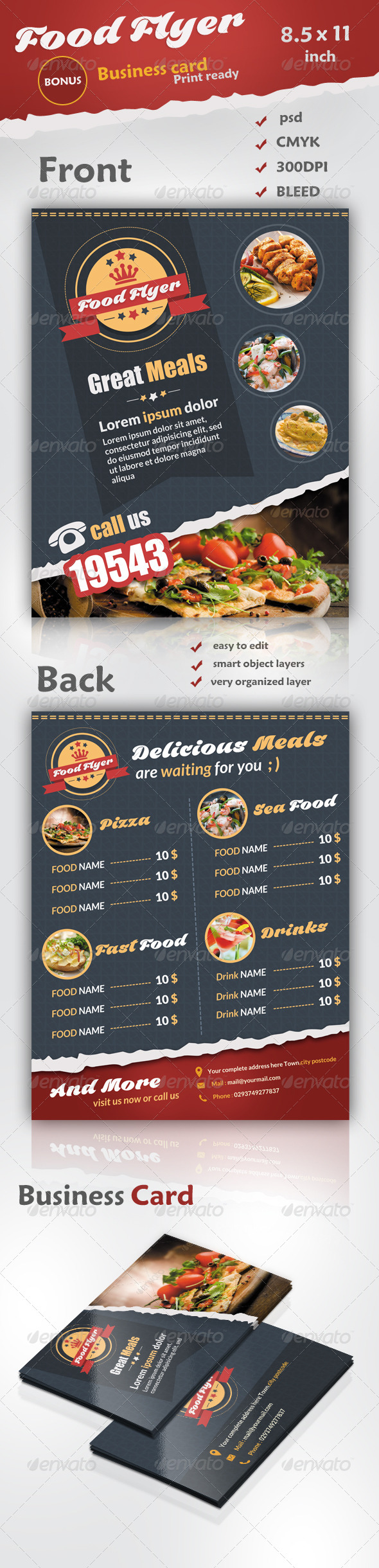 GraphicRiver Food Flyer Business Card 7129594