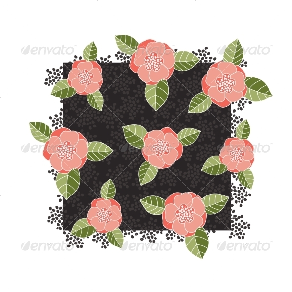 GraphicRiver Pink Roses on a Dark Square 7129853