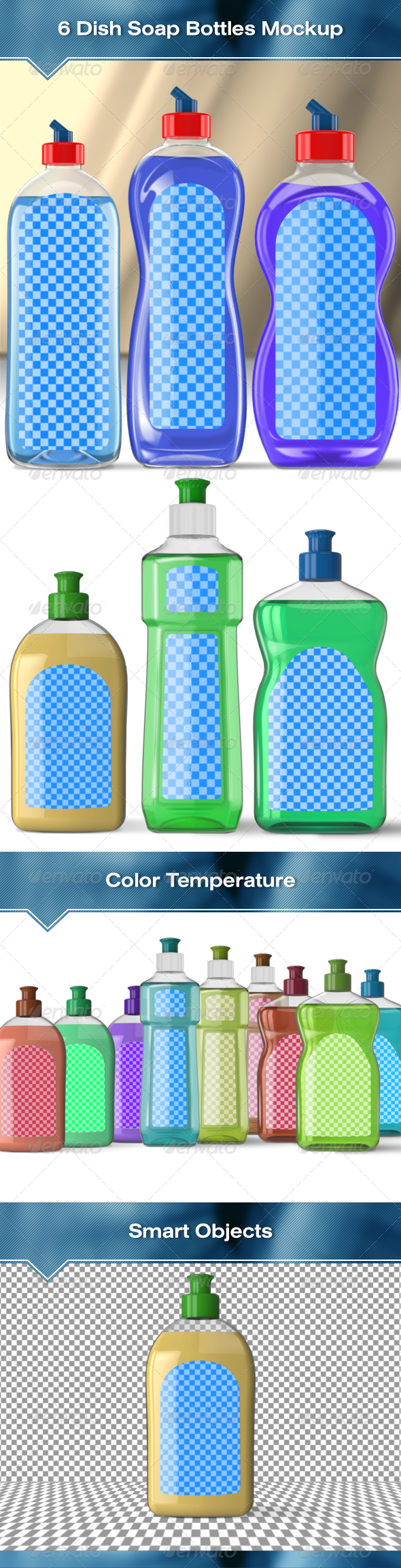GraphicRiver 6 Dish Soap Bottles Mock-Up 7130362