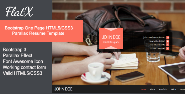 ThemeForest FlatX Bootstrap Onepage Parallax Resume Template 7130839