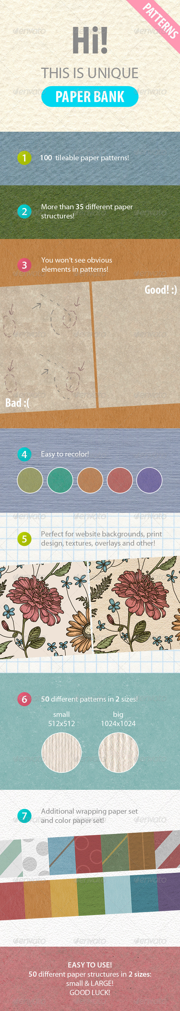 GraphicRiver 100 tileable paper patterns 7066935