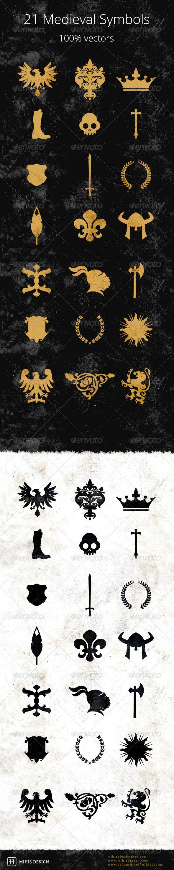GraphicRiver 21 Medieval Symbols 7118704