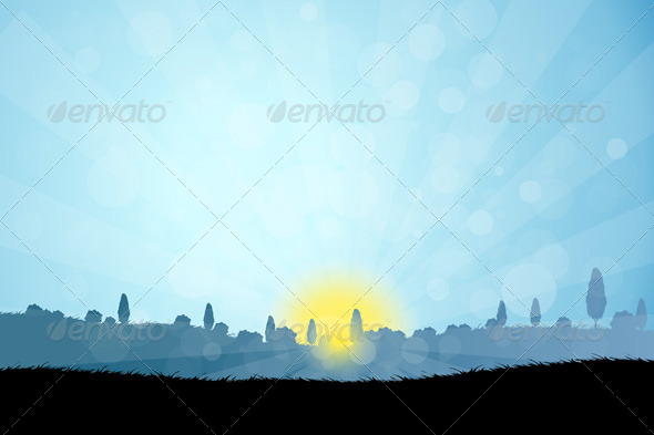 GraphicRiver Landscape with Tree Silhouettes 7131526